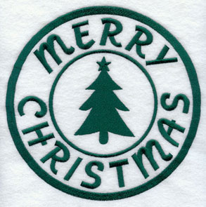 "A rubber stamp machine embroidery design with ""Merry Christmas."""