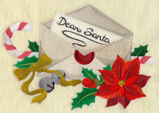 Candy cane, poinsettia, jingle bells, and holly around a letter to Santa machine embroidery design.