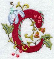 Machine embroidery Jacobean Christmas alphabet.