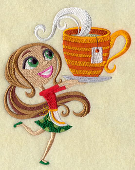 A Christmas sprite holds a cup of hot tea in a sweet machine embroidery design.