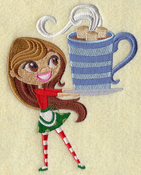 A wee Christmas girl balances a cup of hot cocoa and marshmallows.