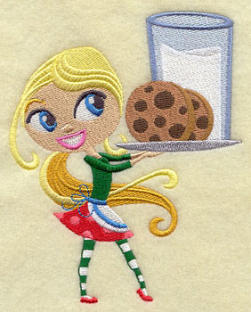 A wee Christmas girl balances milk and cookies on a tray.