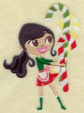 A Christmas sprite holds candy canes in a sweet machine embroidery design.