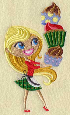 A Christmas sprite holds a stack of cupcakes machine embroidery design.