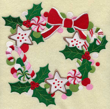 A Christmas wreath of holly, candy canes, mints, and cookies.
