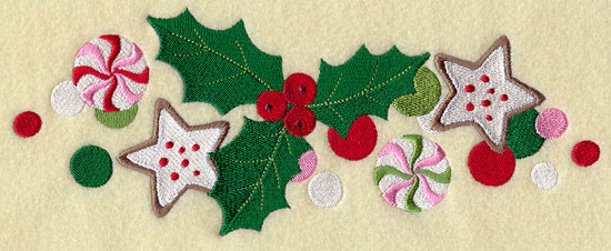 A Christmas border of holly, candy canes, mints, and cookies.
