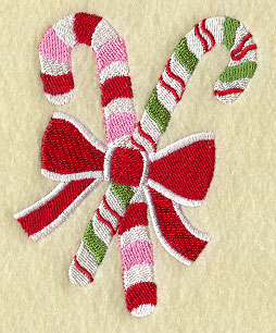 Candy canes in a bow machine embroidery design.