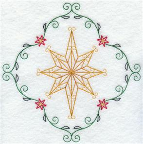 A light-stitching star inside a flower and filigree border.