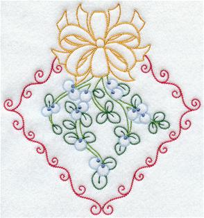 Mistletoe and bow in a diamond machine embroidery design.
