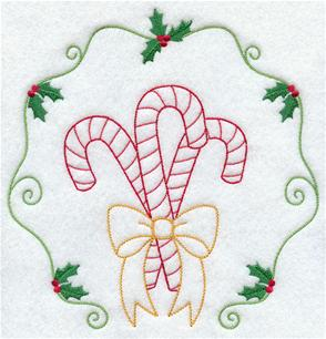 A trio of candy canes inside a holly border machine embroidery design.