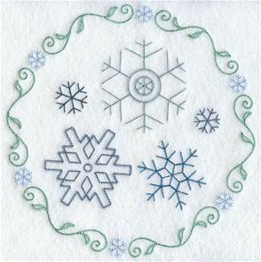 An elegant snowflake circle machine embroidery design.