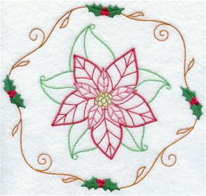 An open and airy vintage poinsettia circle design.