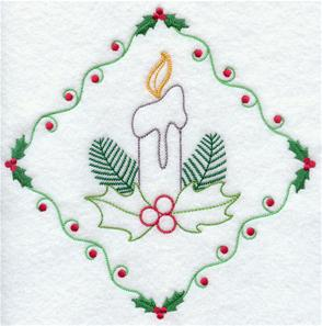 A classic candle and holly diamond machine embroidery design.
