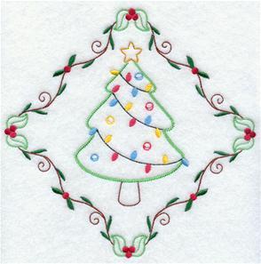A Christmas tree diamond machine embroidery design.
