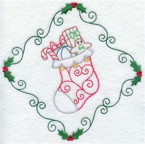 A Christmas stocking inside a vintage diamond shape machine embroidery design.
