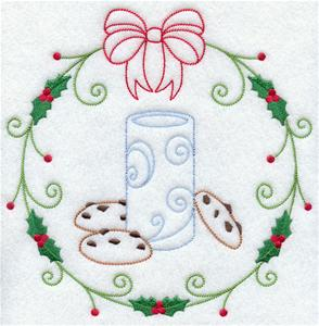 Light-stitching cookies and milk inside a holly circle.