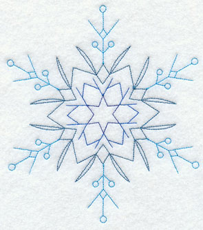 A Redwork snowflake machine embroidery design.