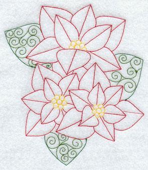 A poinsettia bouquet in a Redwork machine embroidery design.