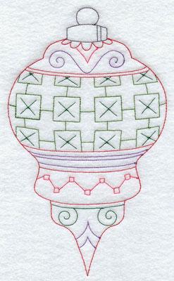A Redwork Christmas ornament machine embroidery design.