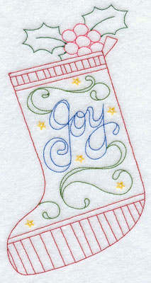 A Redwork Christmas stocking machine embroidery design.