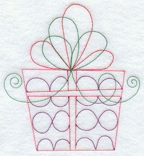 A Redwork Christmas gift and ribbon machine embroidery design.