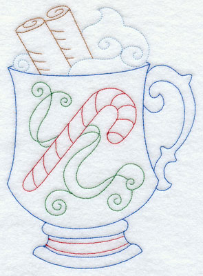 A Christmas decorated mug of hot cocoa in Redwork.