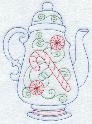 A festive Christmas Redwork teapot.