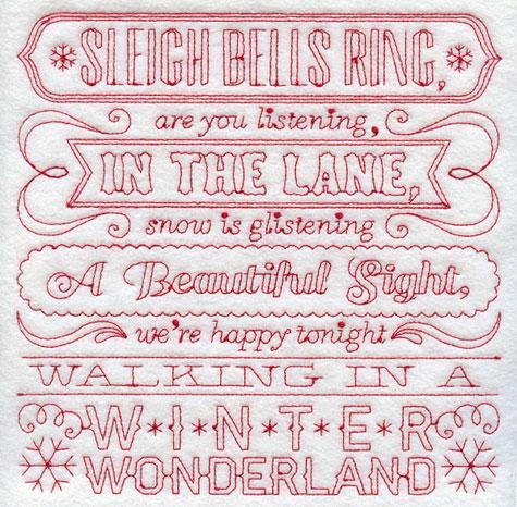 Walking in a Winter Wonderdland lyrics Redwork machine embroidery design.