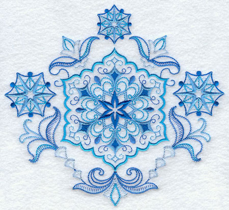 A vintage style quick-stitch snowflake medley machine embroidery design.