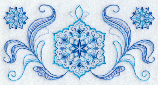 A vintage style quick-stitch snowflake border machine embroidery design.