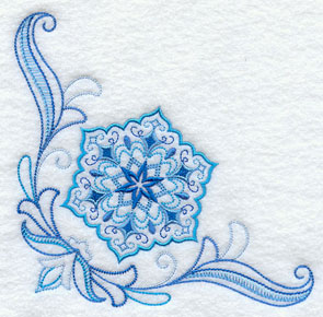 A vintage style quick-stitch snowflake corner machine embroidery design.