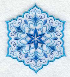 A vintage style quick-stitch snowflake.