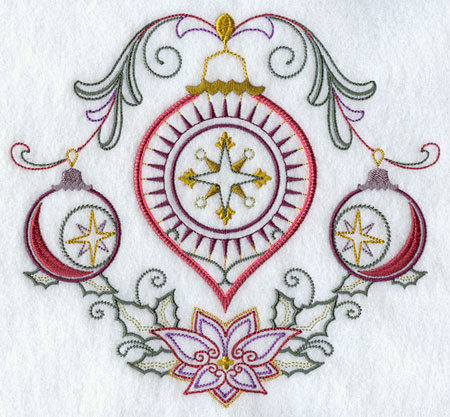 A vintage Christmas ornament medley machine embroidery design.