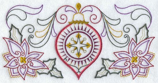 A vintage Christmas ornament border machine embroidery design.
