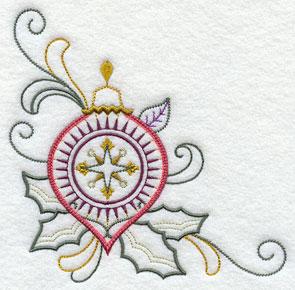 A vintage Christmas ornament corner machine embroidery design.