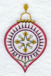A vintage Christmas ornament accessory machine embroidery design.