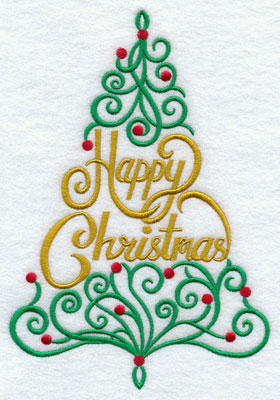 """A filigree Christmas tree with the words """"Happy Christmas"""" machine embroidery design."""