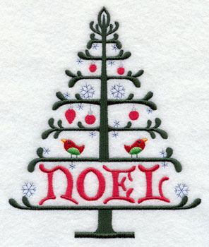 """A wrought-iron style Christmas tree with the word """"Noel"""" machine embroidery design."""