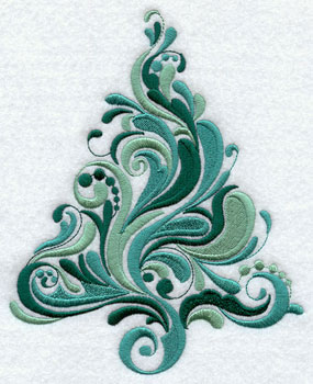A whirling Christmas tree with curls and swirls.