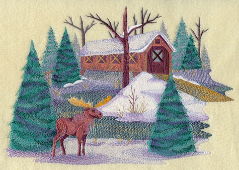 Watercolor-like winter country scene with covered bridge and moose.