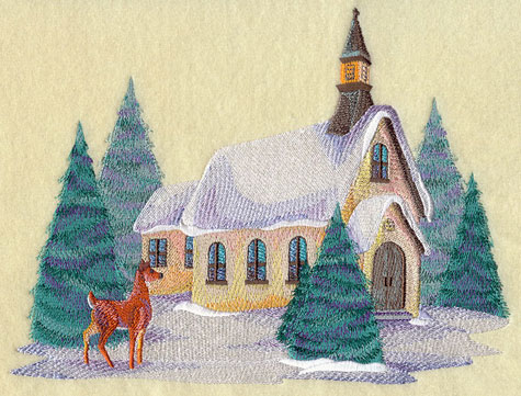Watercolor-like winter country scene with church and deer.