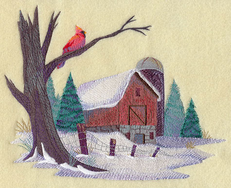 Watercolor-like winter country scene with cardinal and barn.