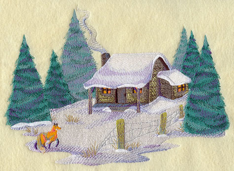Watercolor-like winter country scene with fox and cabin.