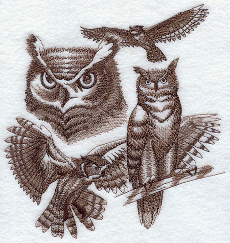 Sketchy-style wildlife medley of a Great Horned Owl.
