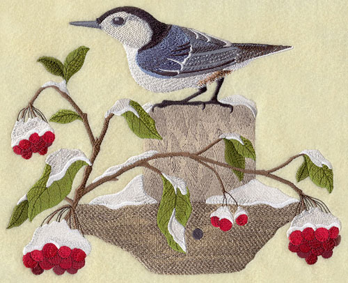 Realistic machine embroidery design of nuthatch on fencepost in winter.