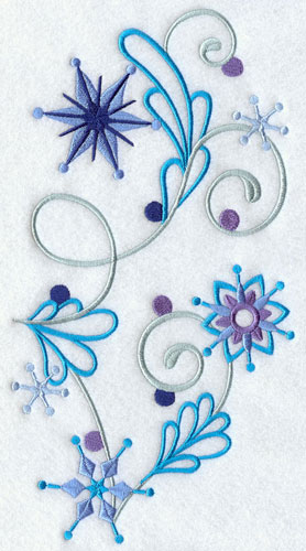 Vertical snowflake and filigree spray.