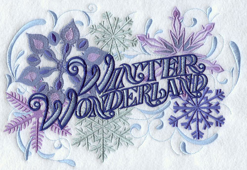Snowflake sampler with the words Winter Wonderland.