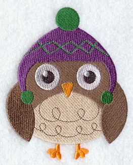 Owl in knitted stocking cap machine embroidery design.