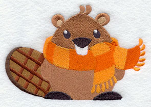 A beaver in a striped scarf machine embroidery design.