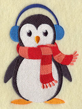 A penguin stays warm in earmuffs and scarf.